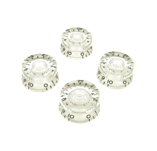 Guitar Volume Tone Control Speed Knobs Clear with Black Numbers