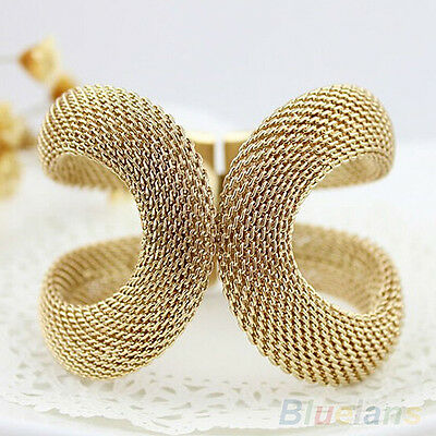 Women Fashion Elegent Alloy Wide Spring Cuff Bracelet Costume Jewelry Bangles