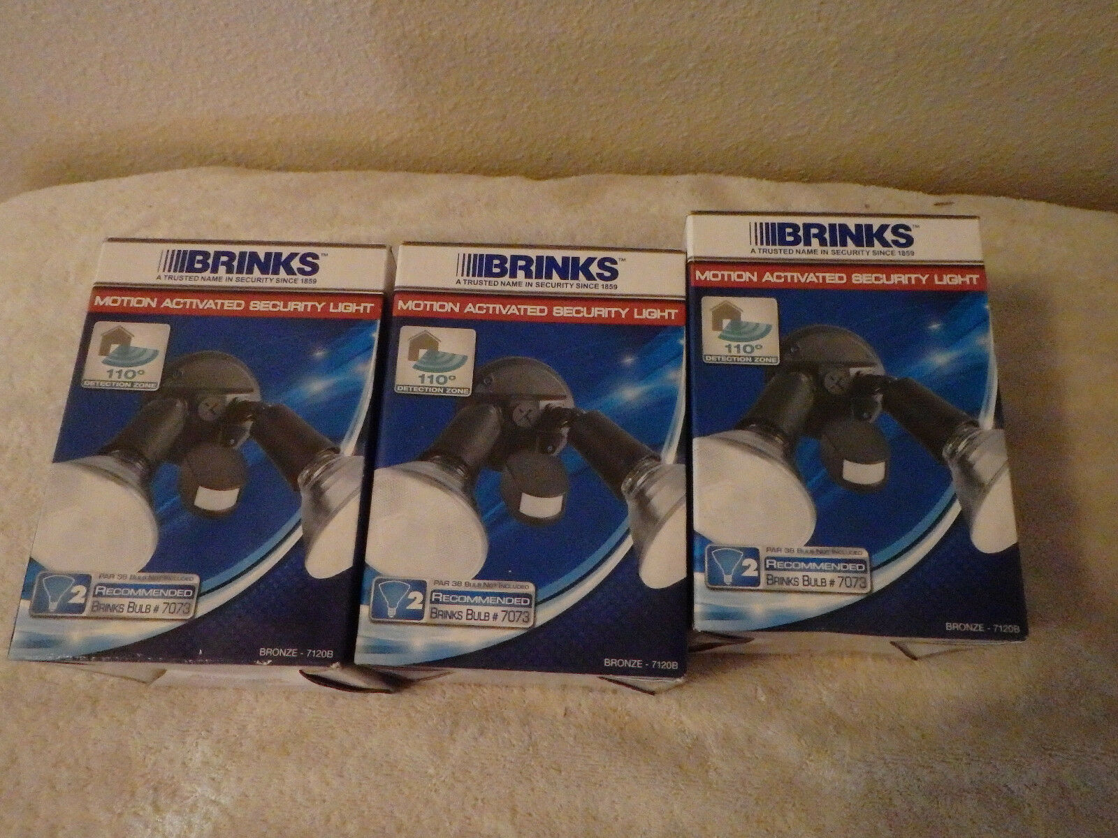 Qty 3 Brinks Motion Activated Secuity Lights