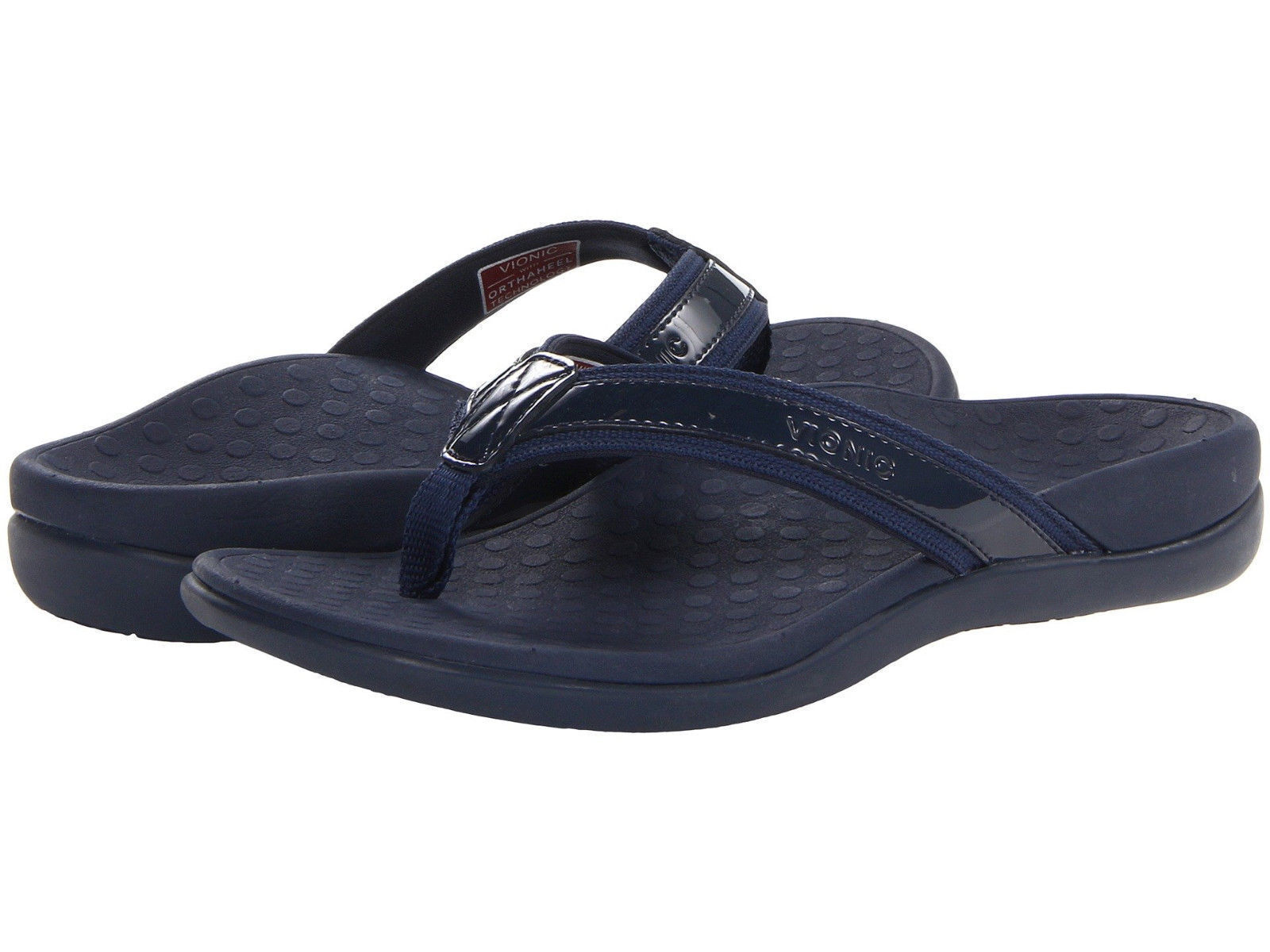 Damens Vionic Orthaheel Tide II Flip Flop Sandale 44TIDEII Navy 100% Original New