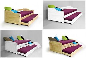 jugendbett ausziehbett kinderbett g stebett kiefer massiv 90x200 inkl lattenrost ebay. Black Bedroom Furniture Sets. Home Design Ideas
