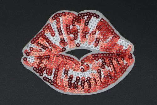 """RED SEQUIN LIPS PATCH WITH WHITE HIGHLIGHTS 3.25/"""" 2.5/"""" x  W H SL-365"""