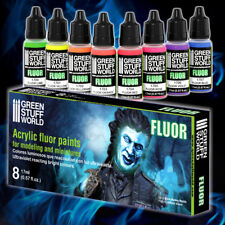 Set X8 Fluor Paints 17ml - Acrylic Intensity Airbrush Brush Figures Miniatures