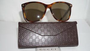 b914bbad2f6 Image is loading GUCCI-New-Sunglasses-Havana-Brown-GG0024S-002-58-