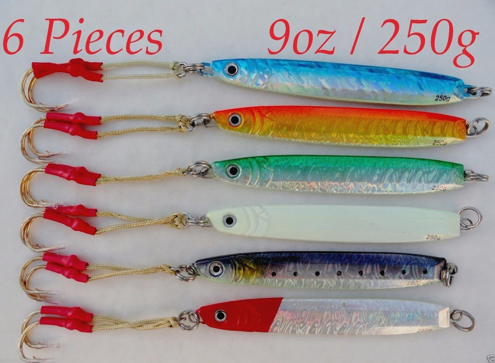 Knife Jigs 9oz   250g 6 Pieces greenical Speed Saltwater Fishing Lures