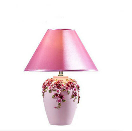 E299 European 1Light Resin Fabric Push Button Switch Bedroom Table Lamp A
