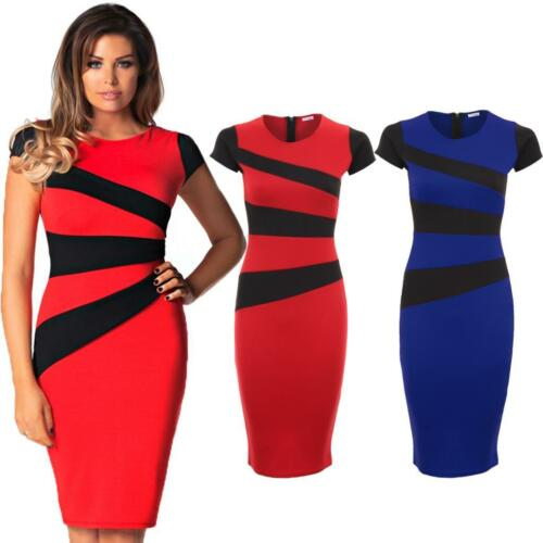 Ladies Celeb Wright Cap Sleeve Stripe Panel Bodycon Midi Knee Length Dress