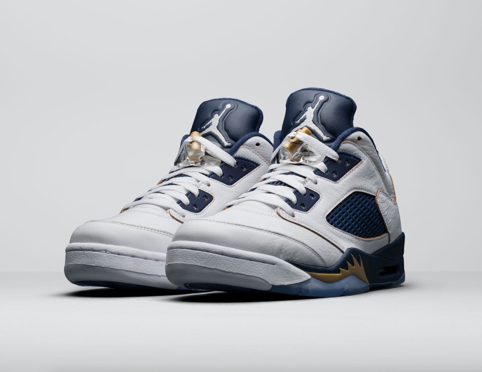 Nike Air Jordan 5 V low size 10.5. Dunk from Above. White Navy Gold. 819171-135 Wild casual shoes