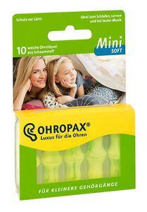 OHROPAX Mini Soft Ear Plugs for Children/Adults with Smaller Ear Canals 10 Plugs 4003626067101