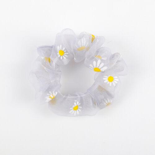 Daisy Pattern Girls Scrunchies Ponytail Holder Hairbands Elastic Hair Rings Rope