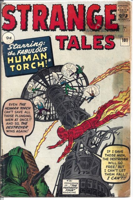 "Strange Tales #101 (1962) G-  Lee/Lieber/Kirby/Ditko  1st Solo ""Human Torch"""