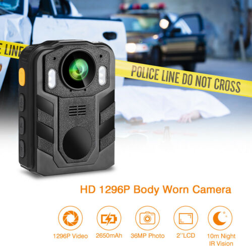 Police Body Camera 1296P HD Video Recording for Police Cam Night Vision Device