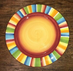 HACIENDA-BY-NOBLE-EXCELLENCE-HTF-LRG-DINNER-PLATE-RED-YELLOW-CENTER-11-3-4-034-EUC