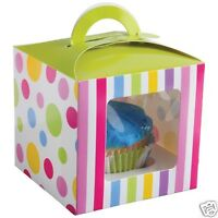 12 Candy Theme Single Cupcake Muffin Boxes Holder Container Party Favor Supply