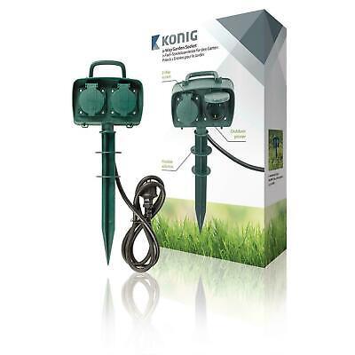 Gartensteckdose mit Erdspieß 2 fach Steckdosenverteiler für Garten Außenbereich