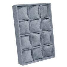 12 Grid Velvet Watch Case Organiser Bracelet Storage Display Pillows Grey