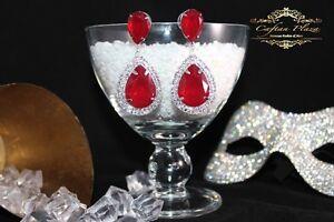 Brautschmuck-Hochzeit-Ohrringe-Ohrhaenger-XL-Silber-Rot-Kristall