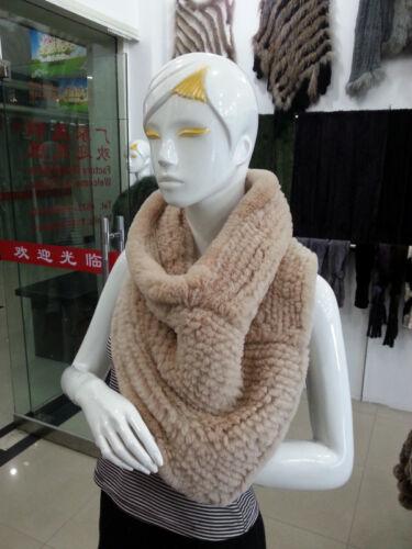 100/% Real Knitted Rex Rabbit Fur Scarf Cape Shawl Wrap Fashion Vintage Warm
