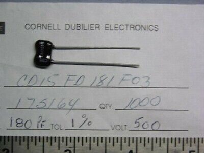 15 Cornell Dubilier CD19FD132F03 1300pF 500V 1/% Dipped Silver Mica Capacitors