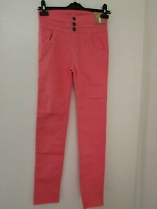 Firetrap Ragazza Vita Alta Zip Denim Jeans Pantaloni