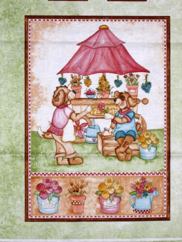 """Red Rooster Farmers Market Bunny Dog  Bear Blocks Green 23/"""" Fabric Panel"""