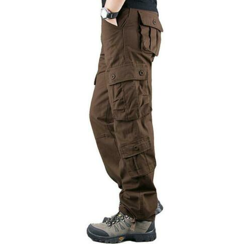 Men/'s Cotton Casual Pants Pocket Military Overalls Full Length Loose Pants Bt15