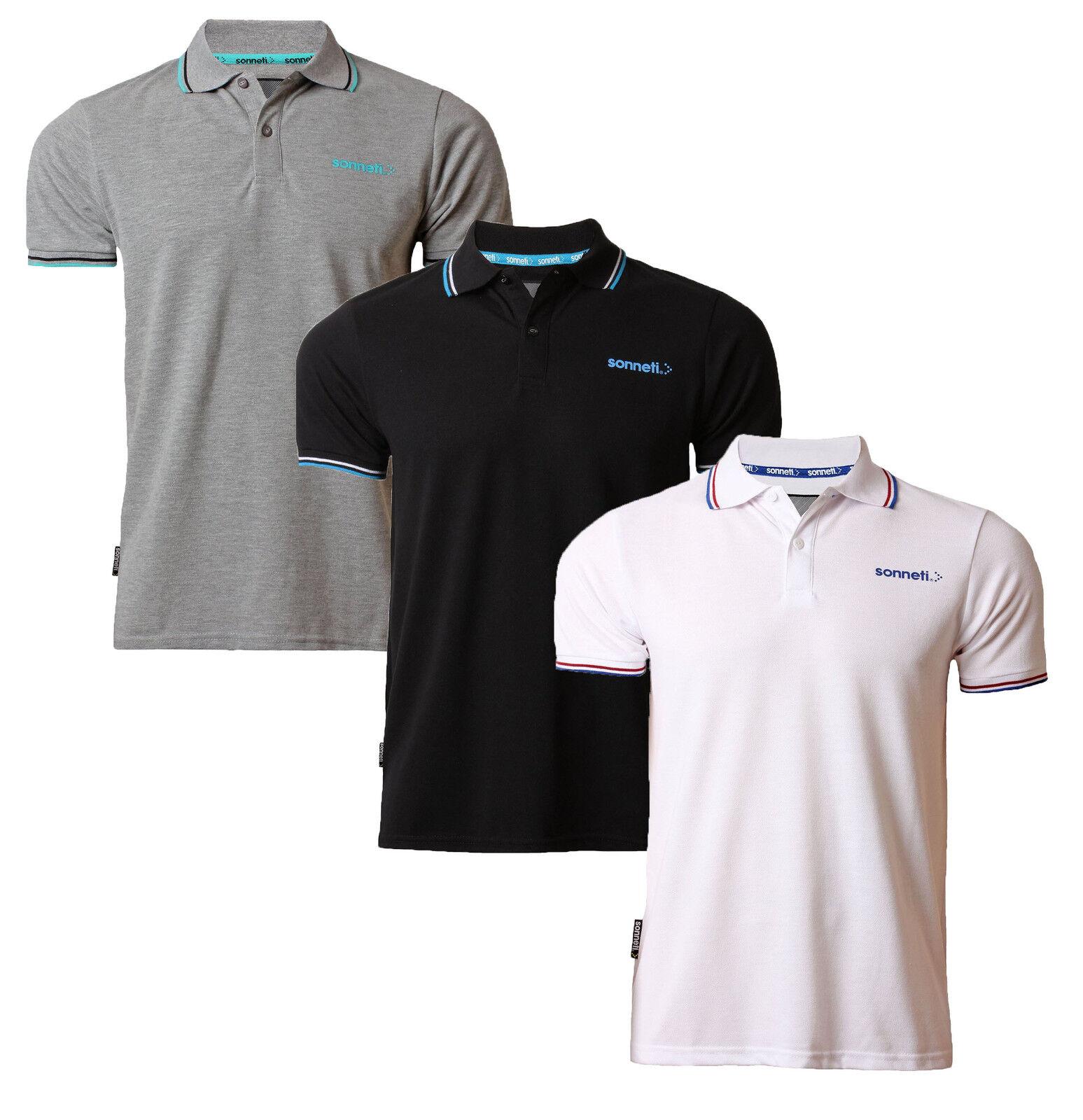 Sonneti Casual Polo in Cotone Piqué T-Shirt Top Retrò Nero Nuovo Bianco Grigio
