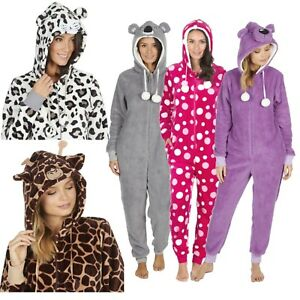 1Onesie-Womens-Girls-Onezee-Animal-Soft-Snuggle-Fleece-All-in-One-Pyjamas-Pjs