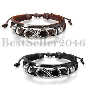 Women-Unisex-Black-Brown-Leather-Tribal-Charm-Love-Infinity-Cuff-Bangle-Bracelet