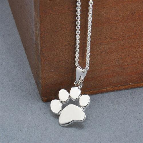 Fashion Women Cute Pets Dogs Footprints Cat Paw Pendant Chain Necklace JD