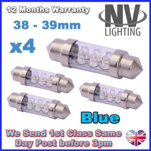 4x 38mm 39mm NUMBER PLATE INTERIOR LIGHT FESTOON BULB 6 LED BLUE 239 272