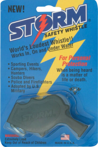 """All Weather Safety Whistle AW1BK Black 3.25/"""" Thermoplastic Storm Safety Whistle"""