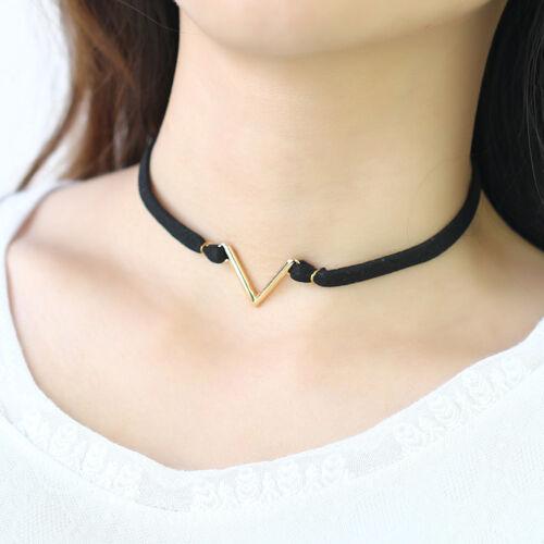 Fashion V Shaped Short Black Velvet Choker Necklace Women Neck Accessories Z