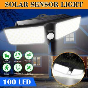 100-LED-Solar-Lamp-Outdoor-Garden-Waterproof-PIR-Motion-Sensor-Wall-Light-USA