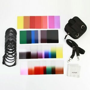Full Gradual Color ND Filter + Adapter Rings Holder Case Cloth Kit Set f Cokin P