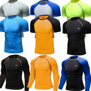 Men-039-s-Compression-Tops-Athletic-Running-Training-Gym-T-shirts-Long-Short-Wicking