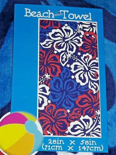 """White /& Blue Personalized Patriotic Hibiscus Velour Beach Towel 28/"""" X 58/"""" Red"""