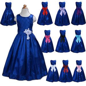 bb3525072 La imagen se está cargando Azul-Nuevo-Vestido-Nina-Dama-De-Honor-Flores-