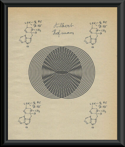 LSD Inventor Albert Hofmann Facsimile Autograph On 70 Year Old Paper *P125