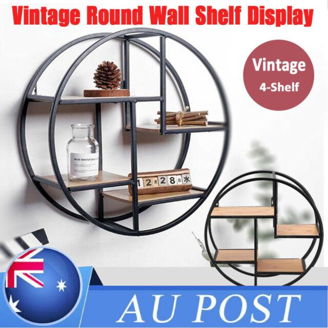 4 Tiers Round Wall Shelf Floating Shelves Display Unit Storage Rack Decor 37.5CM