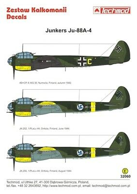 Eduard 1//32 Junkers Ju 88 A Placards for Revell Kit # 32634