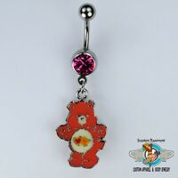 Love-a-lot Bear Dangle Belly Ring Bar Double Heart Care Bear Navel Ring 14g