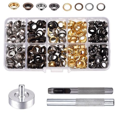 100//200pcs Eyelets Washers Kit with Fixing Tool DIY Repair Clothing Crafts Bags