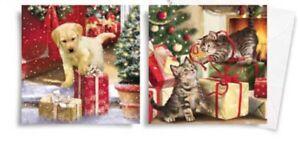 10 De Luxe Carré Découpées Cartes De Noël-cat & Dog Lovers Brillant Paillettes-afficher Le Titre D'origine
