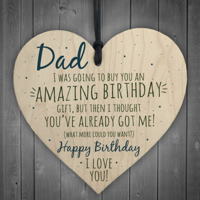 happy birthday wooden heart dad daddy funny card baby son daughter