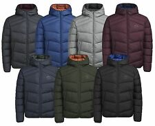 JACK & JONES Men's Quilt Puffer Jacket Lightly Padded Warm Hooded Outdoor Coat