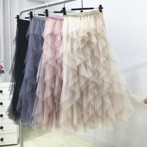 Women-039-S-Korean-Tutu-Skirt-Irregular-Mesh-Long-Skirt-High-Waist-Bottoming-Ski-FE