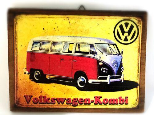 "VOLKSWAGEN Volk KOMBI vintage Wood Sign Bar pub home Wall Decor Poster Art 6x7/"""