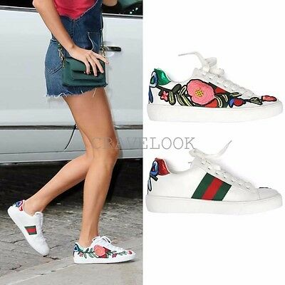 New Women Ace Embroidered Floral Applique Faux Leather Low Top Sneakers  Trainers b2ec041da