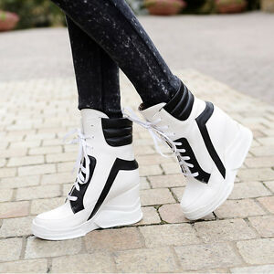 New-Fashion-Womens-Ladies-Sneakers-Lace-Up-High-Wedges-Heels-Sports-Shoes-Size-a